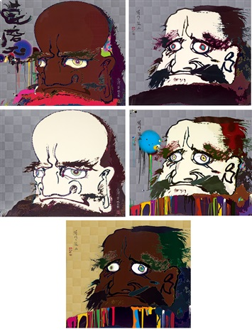 達摩系列 buddha series set of 5 by takashi murakami