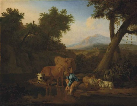 a wooded river landscape with cattle watering and a shepherd resting mountains beyond by adriaen van de velde