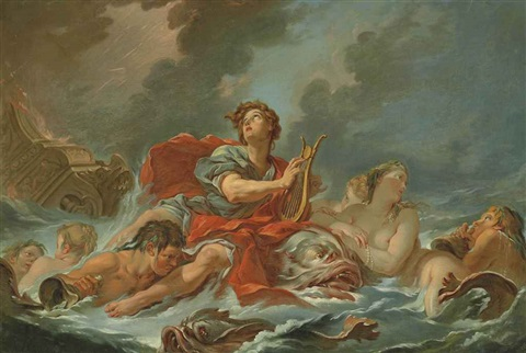 arion saved by the dolphins by françois boucher