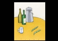 desktop still life with bottle and broad bean by seiichi kasai