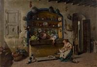 cuisinière plumant ses volailles by manuel amell