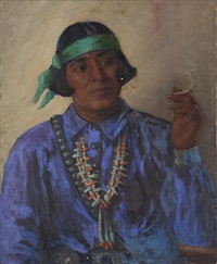 indian man smoking by kathryn woodman leighton