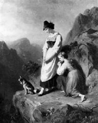 jeunes bergères dans la montagne by ludwig (hofmann-zeitz) hofmann