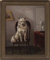 white dog seated in an interior and untitled (2 works) by edmund aylburton willis