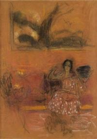 femme assise en intérieur by edouard vuillard