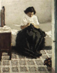 woman sewing by serra