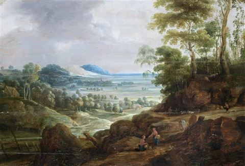 gleaners and herdsmen tending their flocks with an open landscape beyond by jan wildens