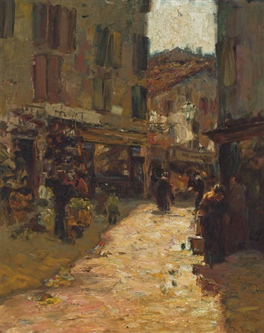 a village street by hermann herzog