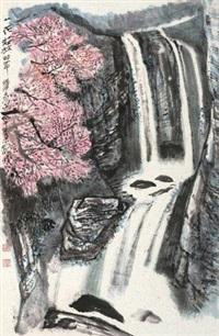 桃花飞瀑 镜心 纸本 by he haixia
