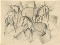 drei pferde mit abstrakten formen by franz marc