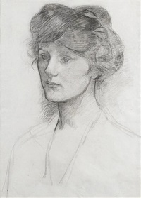 portrait of a lady, mrs alexander puleston henderson (?) by john william waterhouse
