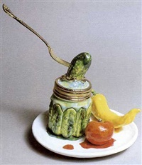 pickle jar and vegetables with plate by victor cicansky