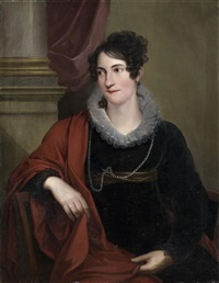 portrait de dame au châle rouge by friedrich georg weitsch