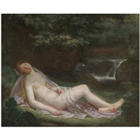a landscape with a nude female figure reclining, a waterfall beyond by antoine jean joseph ansiaux