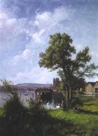 sommertag am zürichsee mit blick auf zürich by f. müller