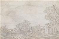 dorflandschaft mit bauernhäusern by cornelis simonsz van der schalcke