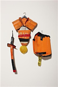 untitled (arms and armor from new york gladiators) (in 3 parts) by tom sachs