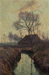 paysage à la ferme près d'un ruisseau by henry pieter edward rul