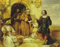 columbus bittet an der tür von santa maria de rabida um wasser für seinen sohn by william simson