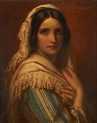 jeune femme de profil by jan adam janszoon kruseman