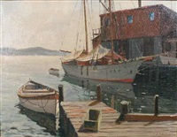 new england harbor by hjalmar amundsen