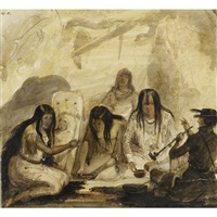 indian hospitality, conversing with signs by alfred jacob miller