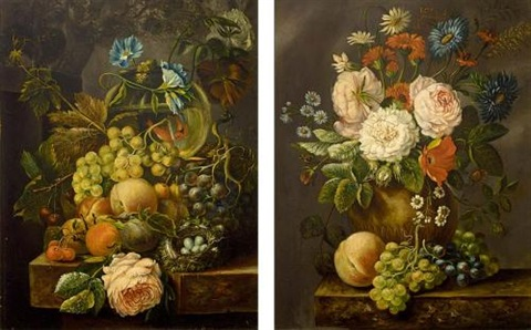 a still life with grapes peaches roses and a birds nest all on a marble ledge pair by andré broedelet