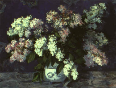 lilacs with a blue background by vladimir i nekrasov