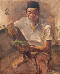 makan nasi (eating rice) by s. sudjojono