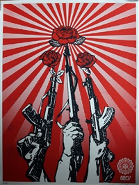 guns and roses set (3 works) by shepard fairey