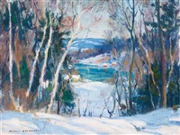 the mill stream and a glimpse of the water through the trees (2 works) by manly edward macdonald
