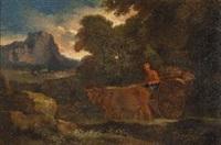 paesaggio con carro trainato da buoi by pieter mulier the younger