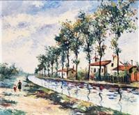 mère et son enfant se promenant au bord du canal by élisée maclet