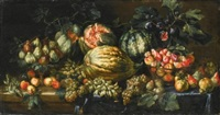 a still life with apples, grapes, pears, plums, all on a partly-draped ledge with figs on a dish and watermelons by agostino verrocchi