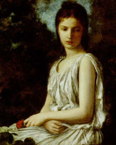 girl with rose by georges bellenger