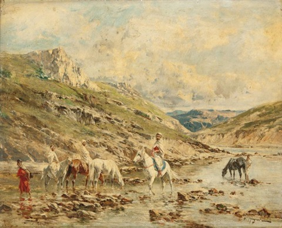 cavaliers traversant un oued by victor pierre huguet