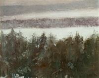 snow laden evergreens by frederick william hutchison