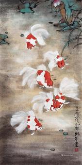 金鱼 立轴 设色纸本 (golden fish) by yang shanshen