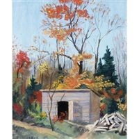 autumn landscape with shed by eric riordon