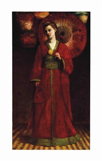 portrait of a standing woman in a red kimono by american school (19)