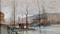 la crue de la seine, quai de l'hôtel de ville by eugène galien-laloue