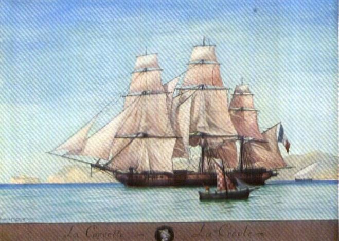 la corvette la créole à mojorque by gustave louis michel alaux