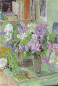 still life with lilac by rufel fedorovich mikhailov