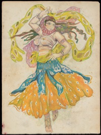 costume design, believed to be from sheherasade (double sided with sketch verso) by leon bakst