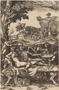 amor und psyche (after giulio romano) by giorgio mantovano ghisi
