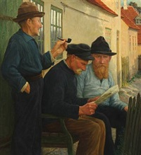 three skagen fishermen by a bench by valdemar holger v. rasmussen magaard