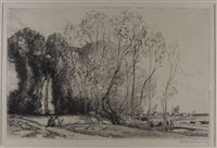 transporting sheep * sunset * edge of the wood * the stone wall (4 works, various sizes and editions) by auguste louis lepère