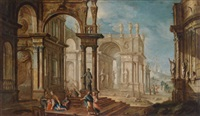 ein architekturcapriccio mit figurenstaffage by pietro francesco garoli