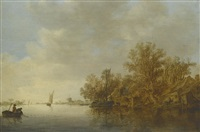 a river landscape with two fishermen in a boat, hauling in their nets, and an unrigged fishing pink moored at the wooded river bank of a small settlement by jan josefsz van goyen