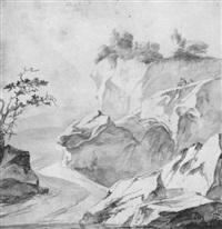 a road through a rocky landscape by hendrick danckerts